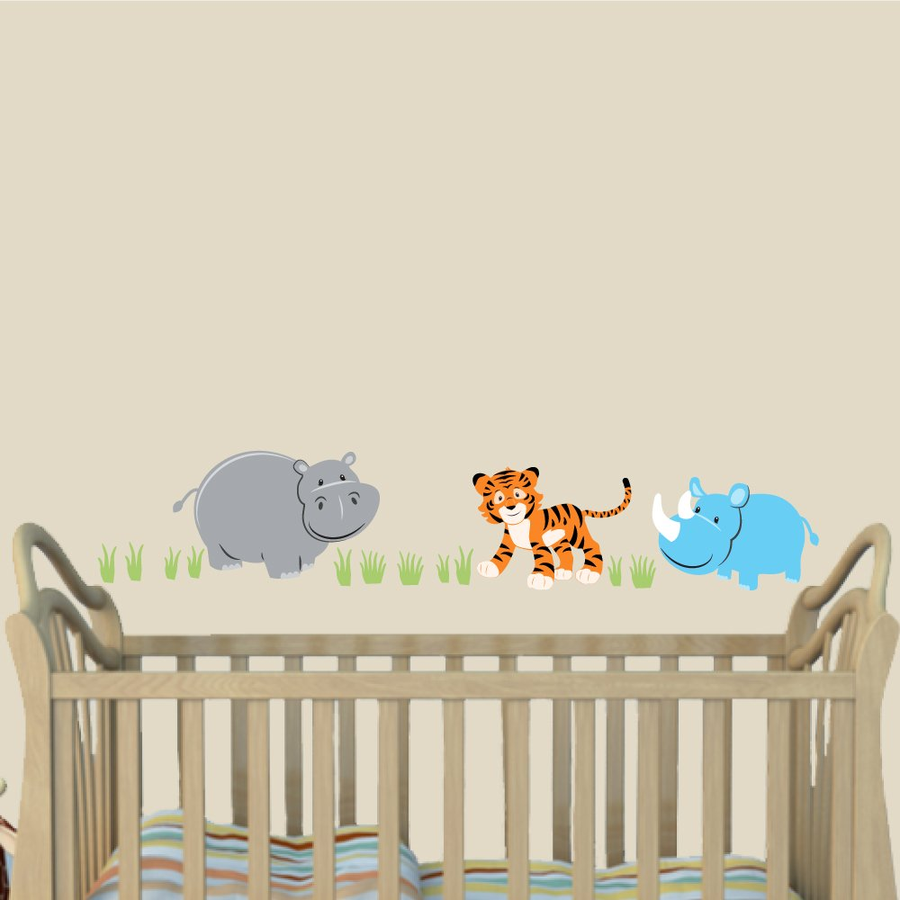 Boys Animal Decals, Wall Decals For Little Boys, Hippo, Tiger, Rhino, Jungle Navy