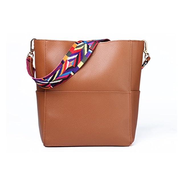 Toping Fine Bucket bag Women Leather Wide Strap Shoulder bag Handbag Large Capacity Crossbody bag Color 5 Black: Handbags: Amazon.com