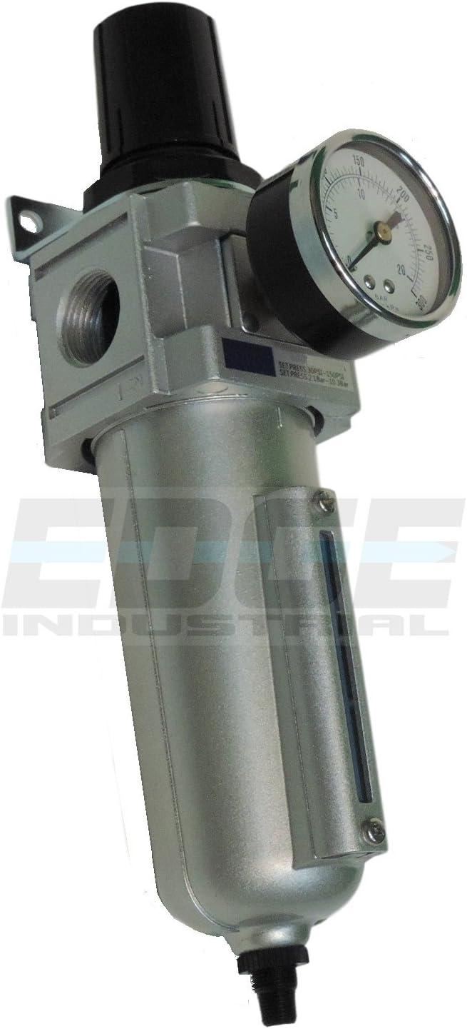 2-125 psi Pressure Range Relieving Type 3//4 NPT Female 250 scfm 40 Micron Auto Float Drain Gauge Parker P3NEA96GSABNG One-Unit Combo Compressed Air Filter//Regulator Metal Bowl with Sight Gauge