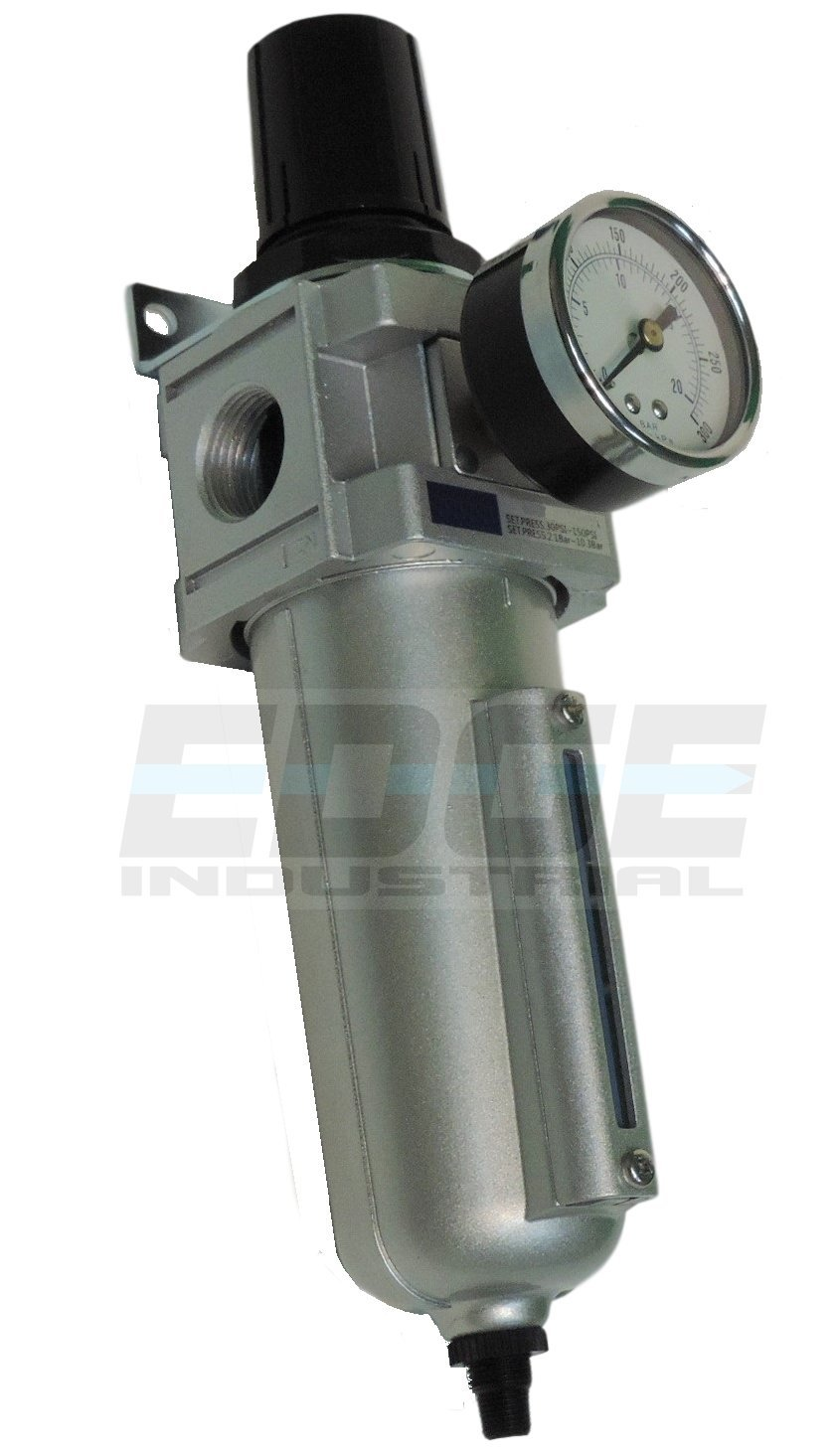 HEAVY DUTY COMPRESSED AIR FILTER REGULATOR COMBO PIGGYBACK, AUTO DRAIN, METAL BOWL, 3/4'' NPT PORTS, 140 CFM, VISIBLE SIGHT GLASS, 5 MICRON ELEMENT by T-H-B CO EDGE INDUSTRIAL