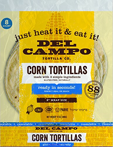 Del Campo Soft Corn Tortillas - 8 Inch Round. 100% Natural, Gluten Free and All-Corn Authentic Mexican Food. Many Serving Options: Wraps, Tacos, Quesadillas or Burritos, Kosher. (8ct.) (Single)
