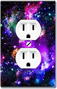 WIRESTER Duplex Outlet Cover Wall Plate/Switch Plate - Purple Marvel Nebula Galaxy