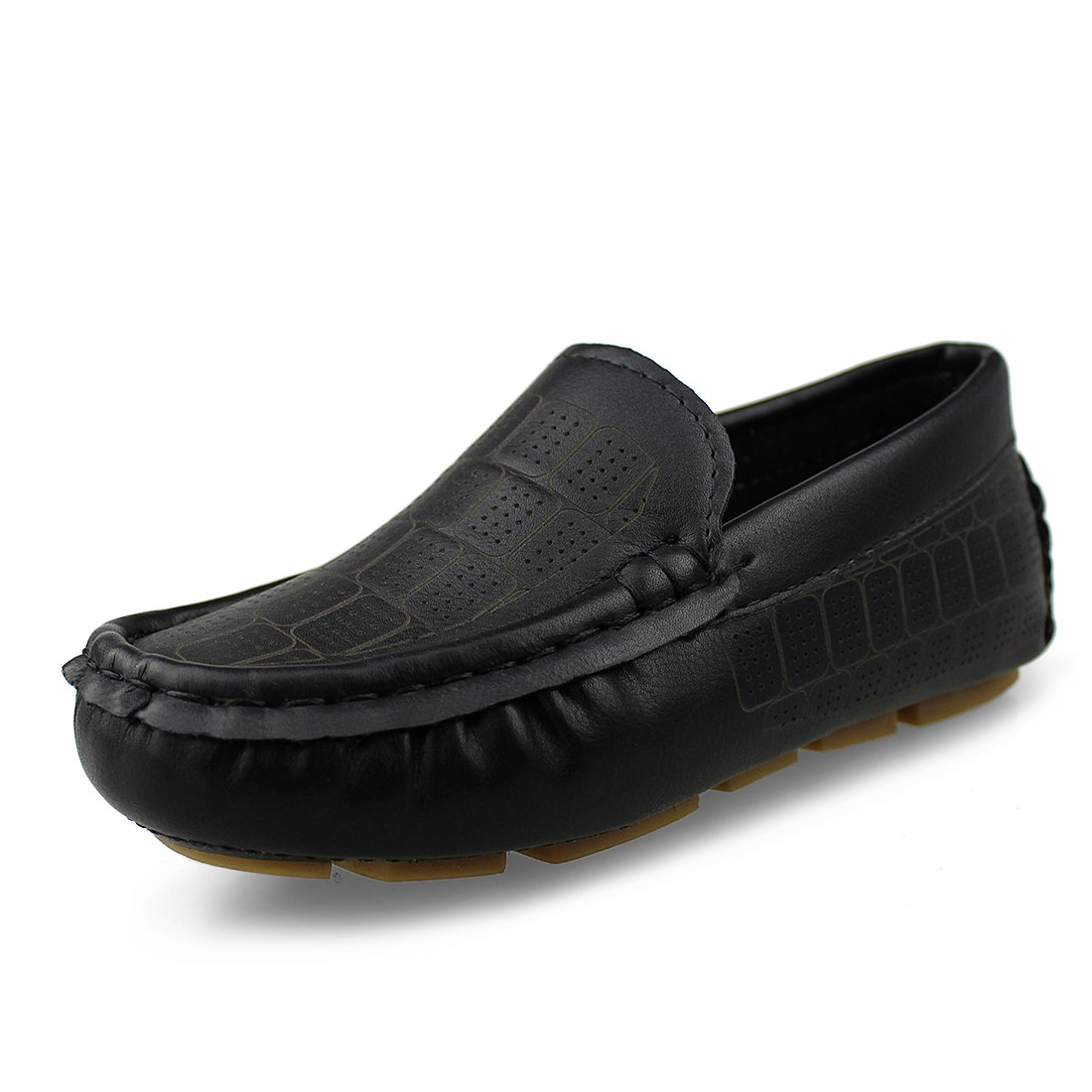 Hawkwell Kids Loafer Moccasin Oxford Driver Shoes(Toddler/Little Kid/Big Kid),Black PU,9.5 M US