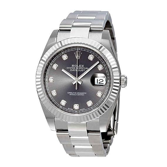 Rolex 126334RDO - Reloj automático para hombre con esfera de diamante de rodio Datejust 41: Amazon.es: Relojes