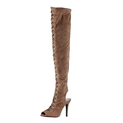 a359e9d866c Breckelle s Womens Randi23 Suede Lace Up Back Cut Out Thigh High Boot