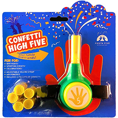 FiestaFive - Confetti High Five HandHeld Toy Shooter with 6 Refills (Green/Gold)