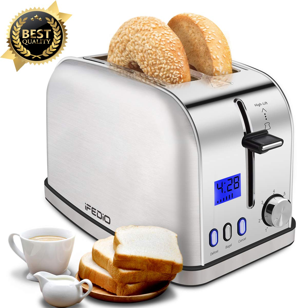 2 Slice Toaster Compact Stainless Steel Toaster with LED Timer Display Wide Slots Bagle Defrost Cancel Function for Breakfast Newest Version Toaster 900W-Silver by iFedio