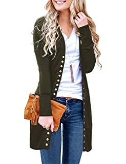 0a3aaadd85 Marysay Women s Long Sleeve Snap Button Down Solid Color Knit Ribbed  Neckline Cardigans
