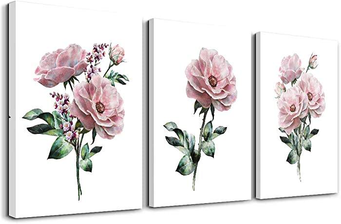 kitchen Wall Artworks Bedroom Decoration Canvas Wall Art for Living Room, 3 piece bathroom Wall decor Pink flowers on white background posters Pictures office restaurant wall painting Home decor
