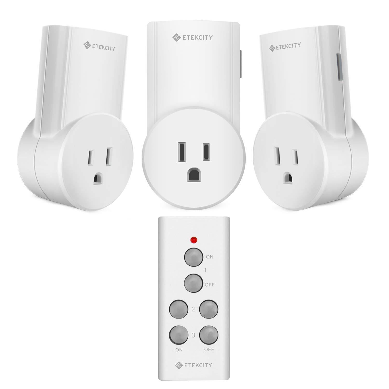 Etekcity Remote Control Outlet Wireless Light Switch for Household Appliances, Plug and Go, Up to 100 ft. Range, FCC ETL Listed, White (Learning Code, 3Rx-1Tx) by Etekcity
