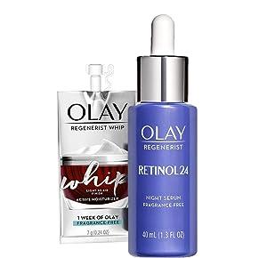 Olay Regenerist Retinol Face Serum, Retinol 24 Night Face Serum, 1.7oz + 1 Week Of Whip Face Moisturizer Travel/Trial Size