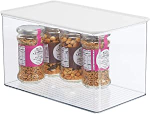 mDesign Plastic Stackable Kitchen Pantry Cabinet or Refrigerator Food Storage Container Box, Attached Hinged Lid - Organizer for Snacks, Produce, Pasta - Clear/White