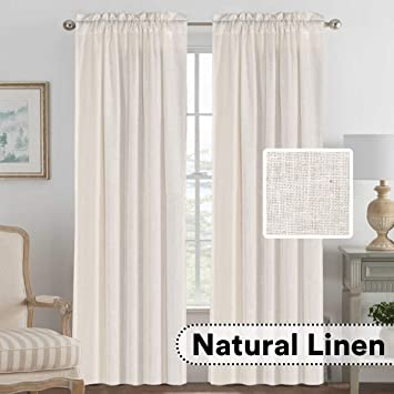 H.VERSAILTEX Living Room Linen Curtains Home Decorative Privacy Window  Treatment Energy Saving Rod Pocket Panels for Bedroom (Set of 2, Natural,  52x84 ...