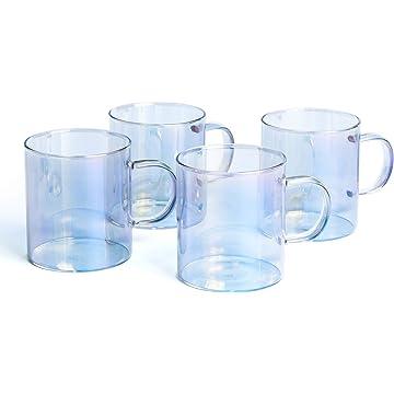 E-liu Glass Coffee Mug, 10 Ounces Tea Cup Set with Handle for Latte, Americano, Cappuccino, Espresso, Water, Glassware Drinking Glasses, Set of 4 (Iridescent)
