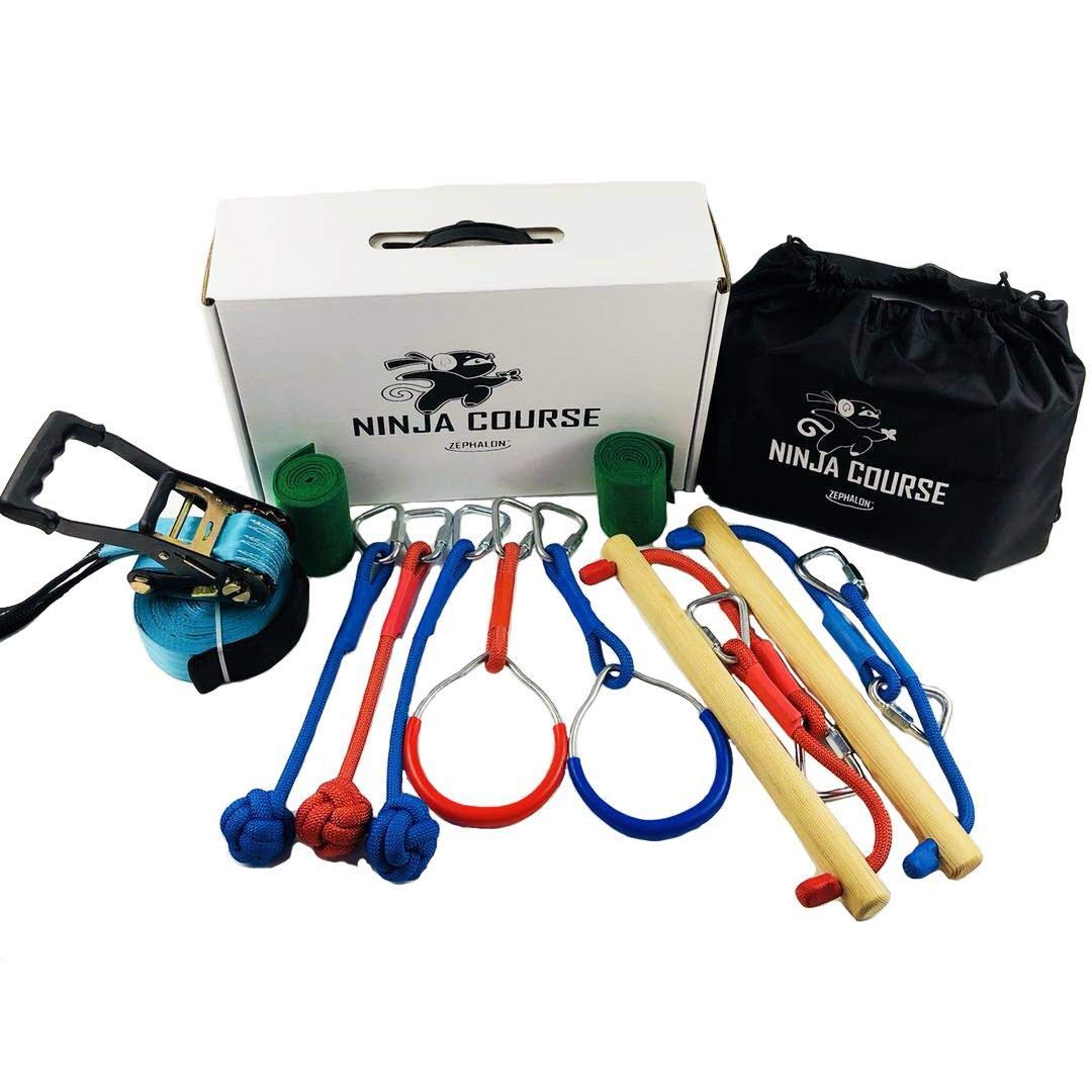 GSM Brands Ninja Hanging Obstacle Course - Slackline Monkey Bars Kit - Inspired by American Ninja Warrior - 40ft with Heavy Duty Ratchet