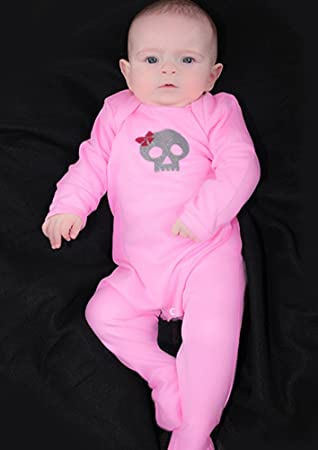 d6846a4c7 Alternative Skull & Bow Baby Girls Sleepsuit | New Cool Skull Girl Romper  Outfit - Ideal