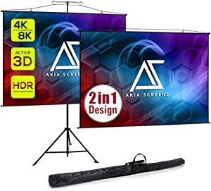 Akia Screens 2 in 1 57 inch Portable Projector Screen with Stand and Carry Bag 4:3 16:9 8K 4K HD 3D, Stand or Wall Mount Tripod Projection Screen for Outdoor Movie Home Theater, AK-T57SLITE (Black)