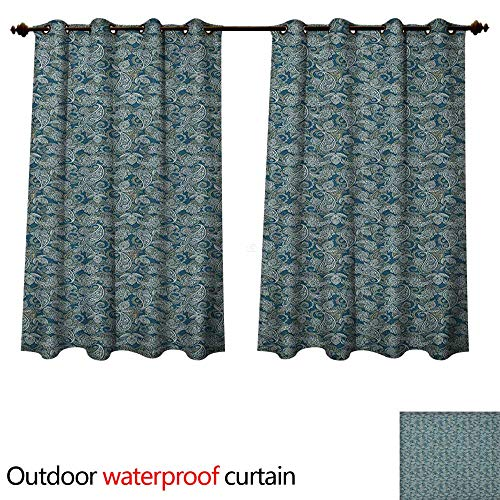 Anshesix Paisley Home Patio Outdoor Curtain Persian Culture Inspired Teardrop Shape with Curved Tip Motif Floral Design W63 x L63(160cm x 160cm) ()