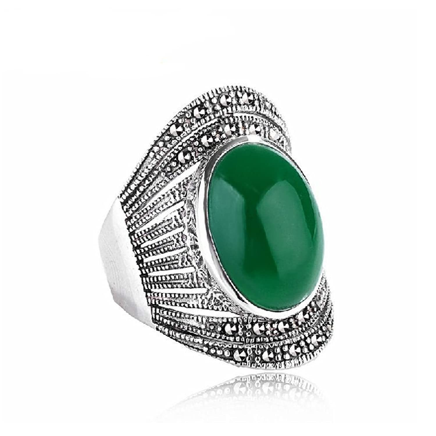 Jade Angel Thailand 925 Silver Ring with Green Cubic Zirconia Marcasite