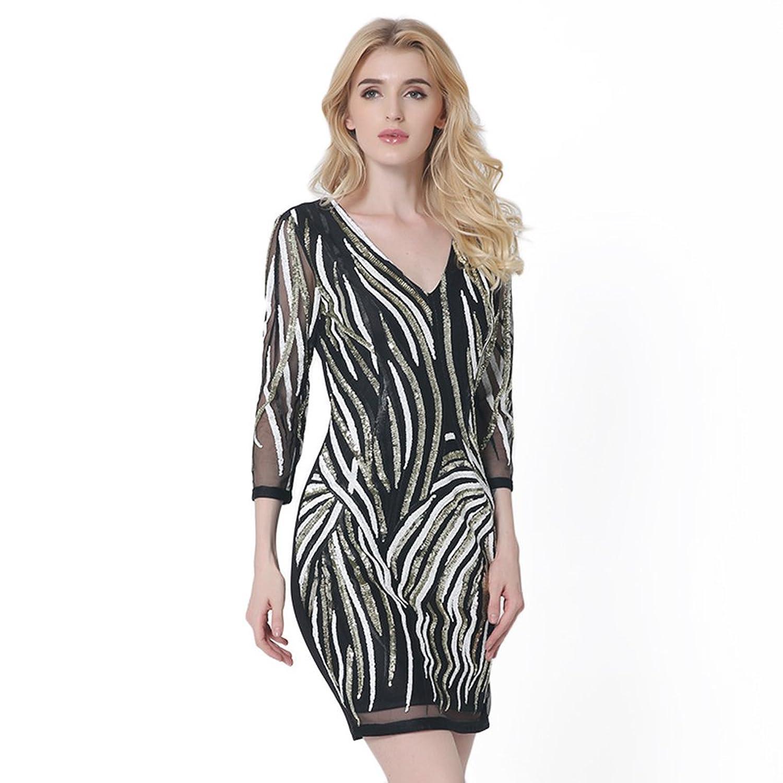 WanYang Damen Mode V Neck Paillettenkleid Spleiß Bodycon Rückenfrei Mini  Abendkleid Cocktail Partykleid Festlich: Amazon.de: Bekleidung