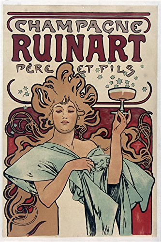 champagne-ruinart-antique-french-poster-by-mucha