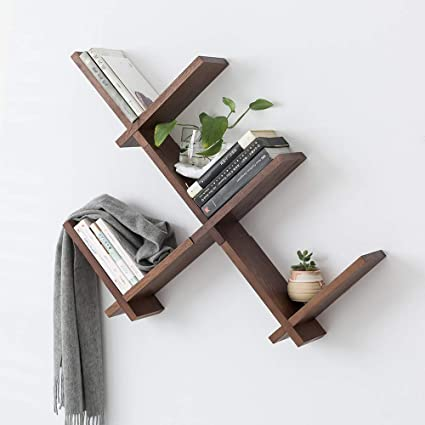 Groovy Inman Wooden Reversed Criss Cross Intersecting Wall Mounted Self 1 Set Storage Floating Display Rack Small Decor Book Shelves For Bedroom Home Download Free Architecture Designs Scobabritishbridgeorg