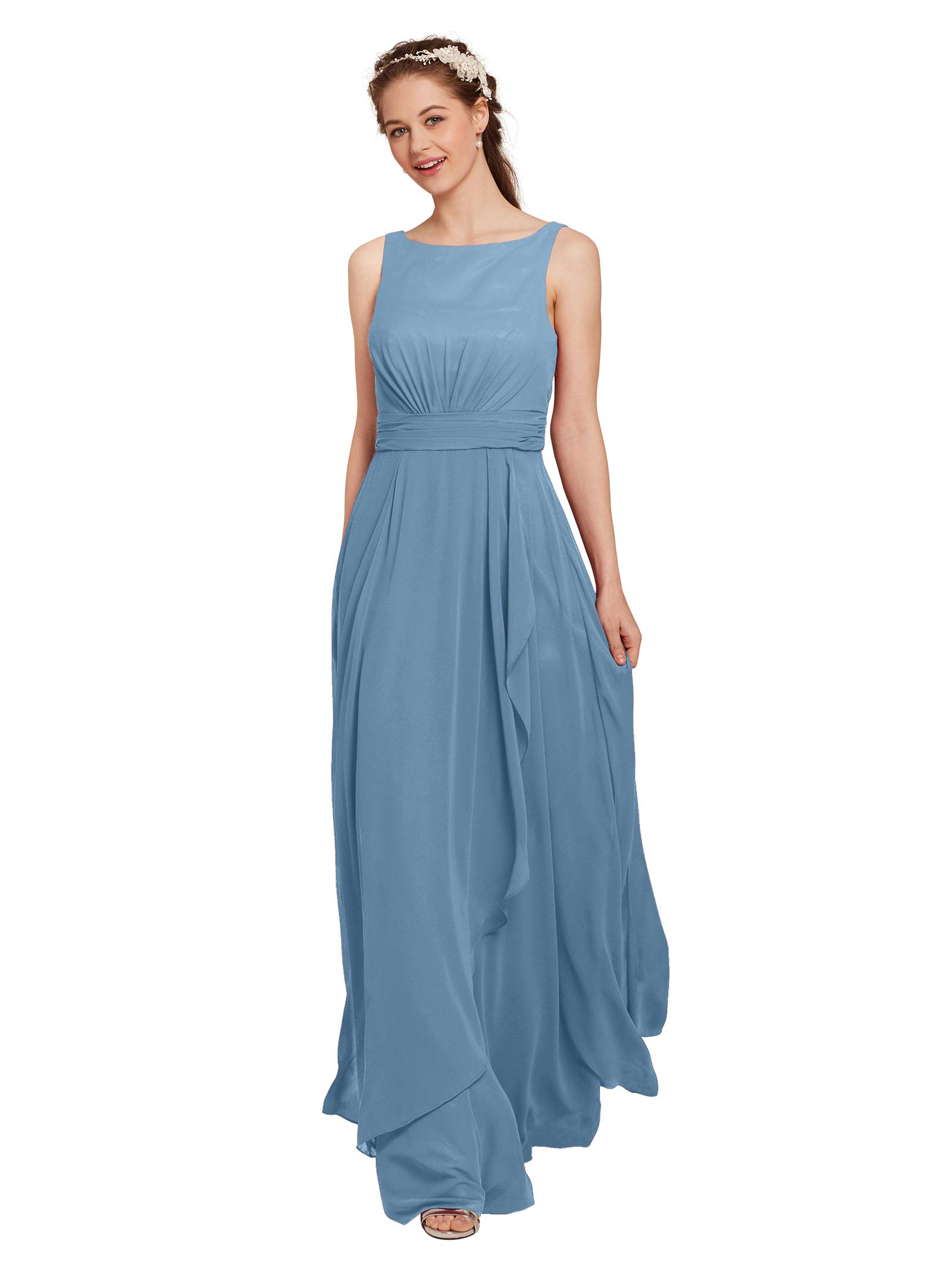 19e3ab2b63acd AW Chiffon Bridesmaid Dress Long Formal Prom Party Evening Maxi Dresses  Sleeveless, Dusty Blue, US14