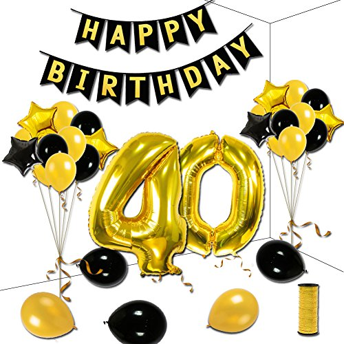 40th Birthday Theme Party Decorations Kit, Black HAPPY BIRTHDAY Banner, Gold Number 40 Big Foil Balloon, 6pcs Black and Gold Star Balloons, 12