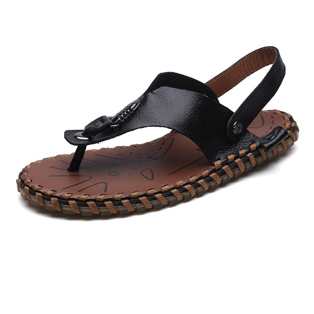 Chancletas Casuales de los Hombres Zapatos Zapatillas de Playa de Cuero Genuino Antideslizante Trabajo Hecho a Mano Sandalias Planas Suaves,para los Hombres 40 EU|Black