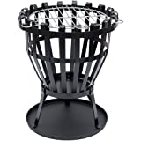 Home Discount® Steel Brazier Outdoor Garden Patio Heater Fire Burning Log Wood Burner Basket BBQ Grill Ash Tray, Round