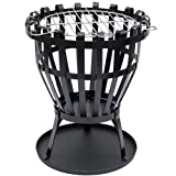 Home Discount® Steel Brazier Outdoor Garden Patio Heater Fire Burning Log Wood Burner Basket BBQ Grill Ash Tray, Round