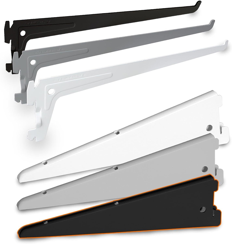 PRIOstahl Regaltr/äger 10 St/ück 150mm schwarz 1-Reihig Regalsystem f/ür Wandschiene Regalhalter