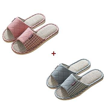 Tingting Chancletas, 2 Pares Zapatillas de casa Pareja Interior Cuatro Estaciones Algodón y Lino Ligero