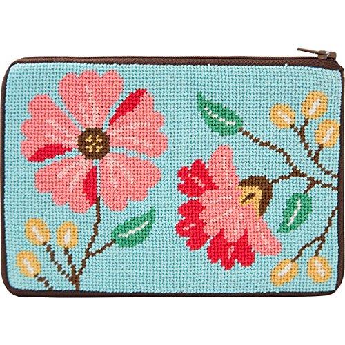 Alice Peterson Pink Flowers Stitch & Zip Purse Needlepoint Kit ()