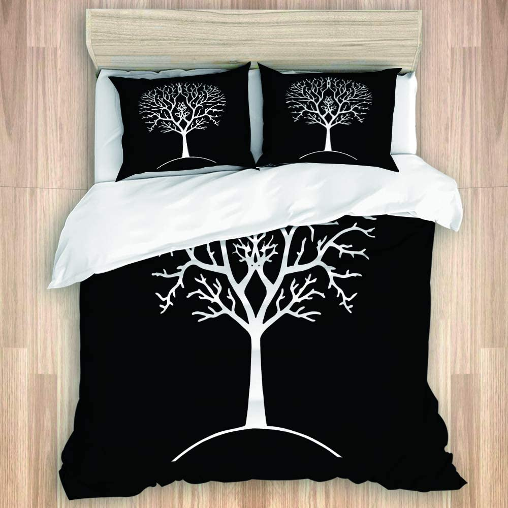 SINOVAL Autumn Tree Silhouette Black and White Lord Ring Branches Queen/Full Size Bedroom Decoration Brushed Microfiber 1 Duvet Cover 2 Pillow Shams Zipper Closure