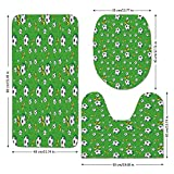 3 Piece Bathroom Mat Set,Soccer,Professional Player Athletics Pattern Football Shoes Balls on Grass Decorative,Lime Green Yellow Black,Bath Mat,Bathroom Carpet Rug,Non-Slip