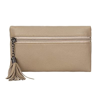 57e00fedcd OHQ Pochette De Poche Diagonale Vintage En Cuir à Franges Beige Noir Brun  Mode Femmes Pure
