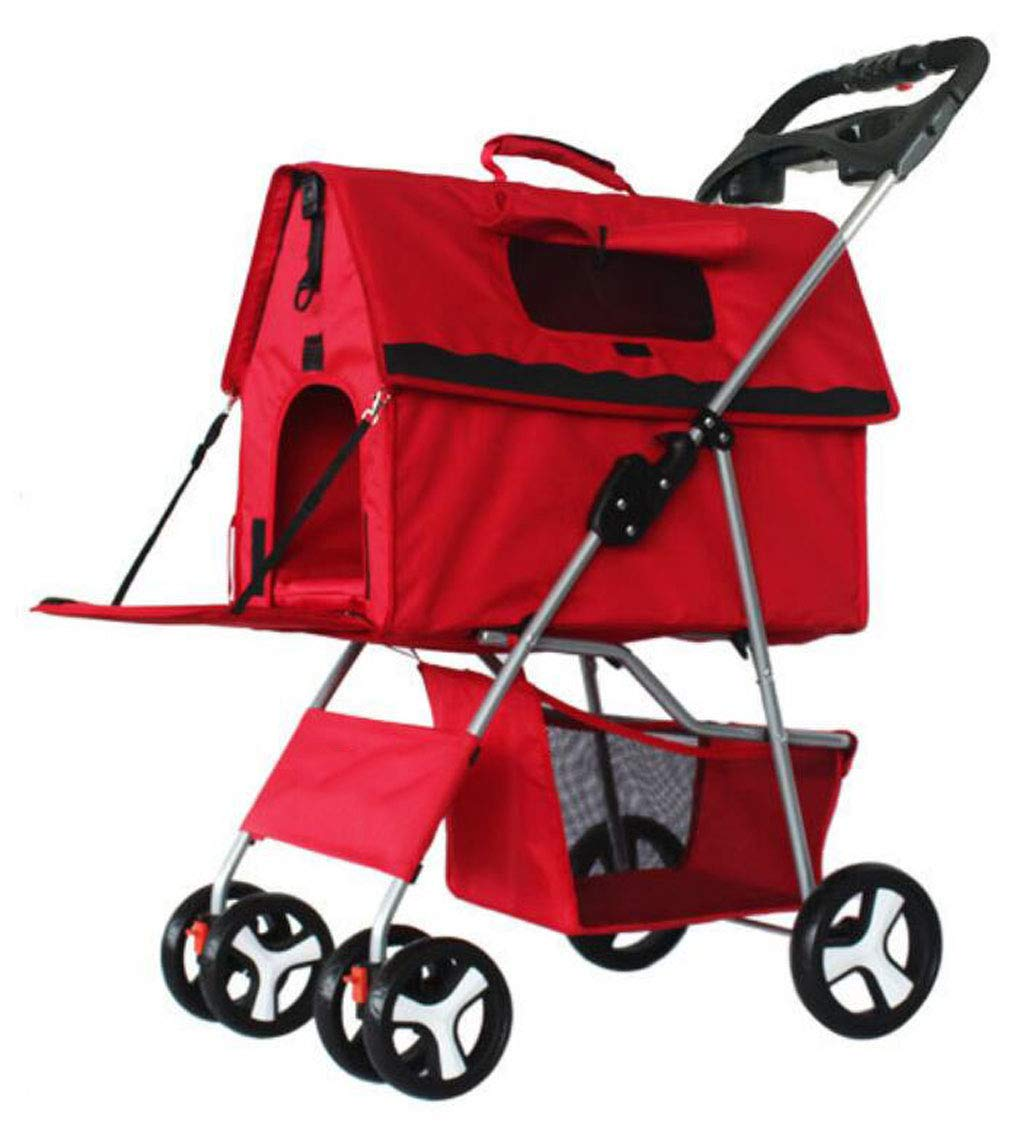 RED Onesize RED Onesize Folding Pet Stroller, Removable Dog Stroller, Split Pet Car Bag, 4 Wheels, 360° redating Tire,Suitable for Small Pets (color   RED, Size   OneSize)