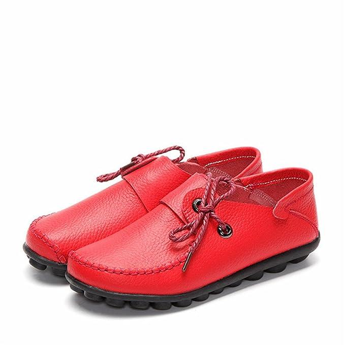 Otoño Nuevo Estilo de Cuero de Vaca Zapatos Casuales de Las Mujeres Mocasines Planos Femeninos Zapato Con Cordones Mujer Mocasines Zapatos de Conducción Red ...