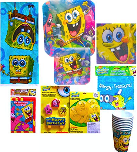 Spongebob Squarepants Party Invitations - Spongebob Squarepants Children's Ultimate Birthday Supplies Includes Lunch & Dessert Plates, Napkins, Gift bags, Balloons, Candle Set, Invitations, Tablecover, Party Cups (Party For 8)