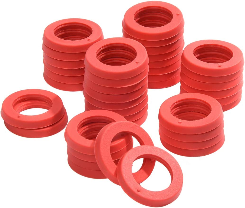 "Garden Hose Washer Universal Heavy Duty Rubber Washer, Fit All Standard 3/4"" Garden Hose Fittings (40 Pack Red)"