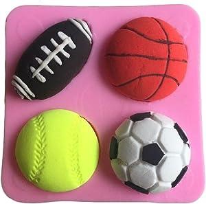 FLY Football Basketball Shaped Cake Decorating Tools Silicone Fondant Mold,Pink