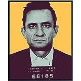 Johnny Cash Folsom Prison Mugshot Poster - 8x10 Andy Warhol Pop Art Wall Art Sign - Cool Unique Modern Home Decor for Living
