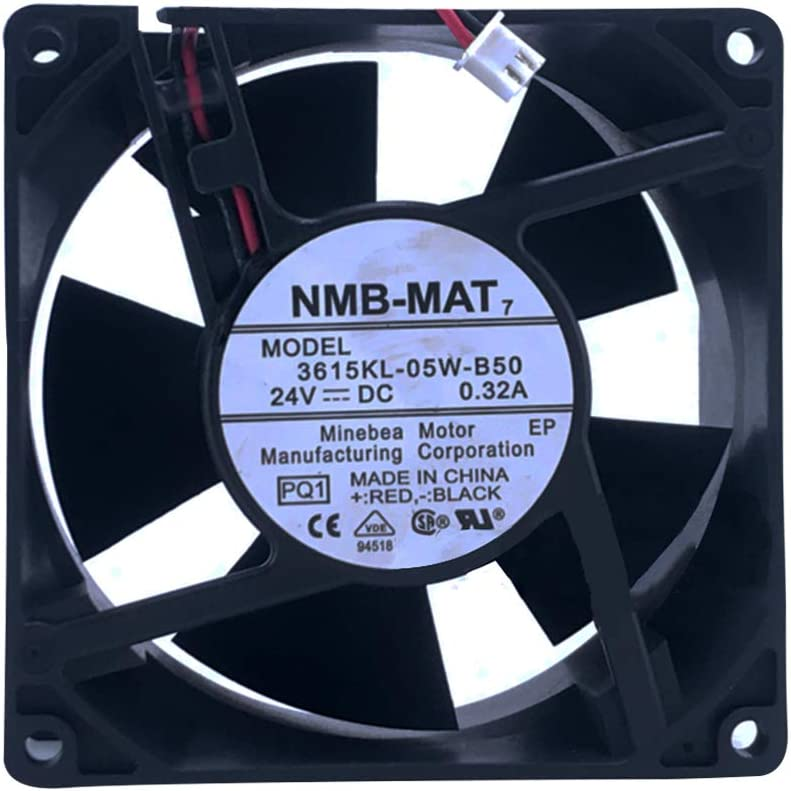 Original New NMB-MAT 3615KL-05W-B50 PQ1 DC 24V 0.32A 2-Wire 90X90X38mm Server Square Fan