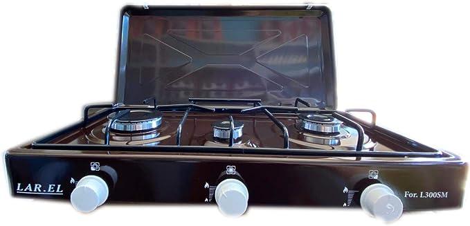 Hornillo de gas para camping MULTIGAS marrón GLP y METANO tres cocina 3 niveles apoyo.