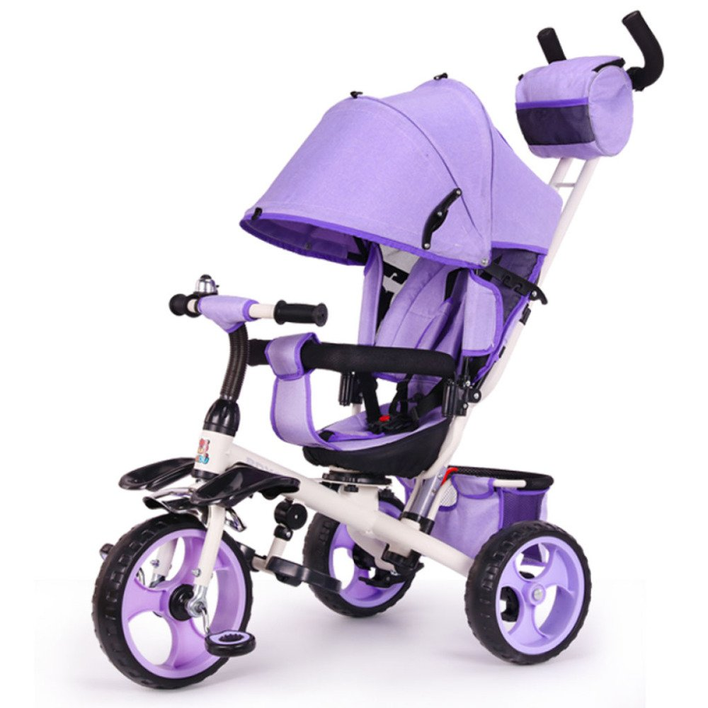 QXMEI Children's Tricycle Bicycle Can Lay 1-6 Years Old Baby Baby Stroller Child Car Three Wheel with Awning,Purple