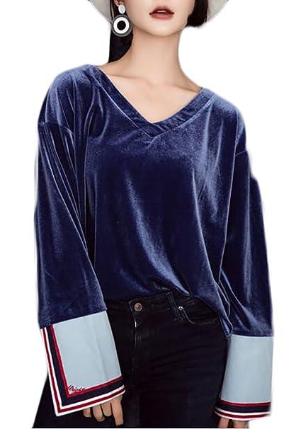 ee9b1d99c4dc Yayun Yayu Womens Stylish V Neck Long Sleeve Casual Loose Velvet Blouse  Shirt Blue S