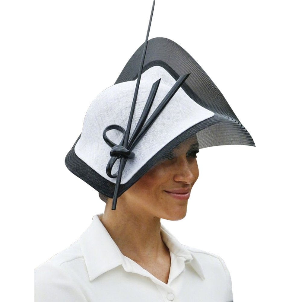 White Black June's Young Fascinators Hat Sinamay Tea Party Headwear Girls Women Black White color