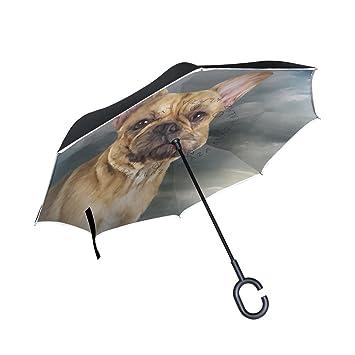 MyDaily Paraguas invertido de Doble Capa para Coches, Paraguas invertido, Paraguas Francés Bulldog Resistente