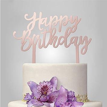 Oro rosa feliz cumpleaños decoración para tartas acrílico ...